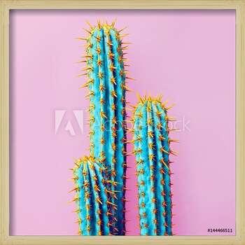 Oprawiony plakat  Set Neon Cactus. Minimal creative stillife
