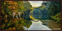 Oprawiony plakat  Amazing place in Germany - Rakotzbrucke also known as Devils Bridge in Kromlau