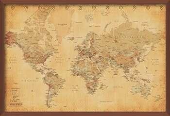 Oprawiony plakat World Map - Antique Style