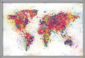 Oprawiony plakat World Map - Colour Splash