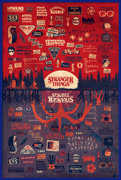Oprawiony plakat Stranger Things - The Upside Down