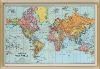 Oprawiony plakat Stanfords General Map Of The World - Colour