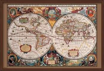 Oprawiony plakat World Map - 17th Century