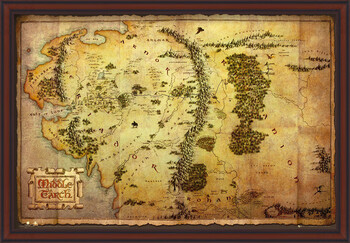 Oprawiony plakat The Hobbit - Middle Earth Map