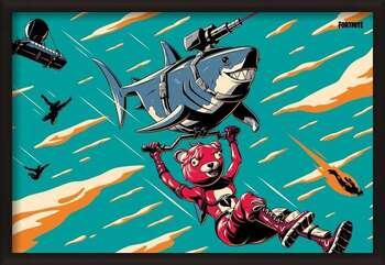 Oprawiony plakat Fortnite - Laser Shark